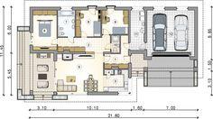 Parterowy dom z zadaszonym tarasem i garażem - Studio Atrium Atrium, New House Plans, Kos, Studio, My House, Sweet Home, New Homes, Floor Plans, House Design