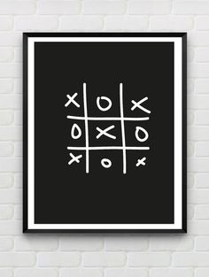 Printable Poster XO Instant Download Monochrome by Designsbyritz