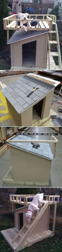 Awesome DIY Dog House…this looks like my Kiko! Awesome DIY Dog House … cela ressemble à mon Kiko! Ideias Diy, Animal Projects, Dog Houses, Puppy House, Diy Stuffed Animals, Dog Life, Backyard, Cool Stuff, Diy Dog