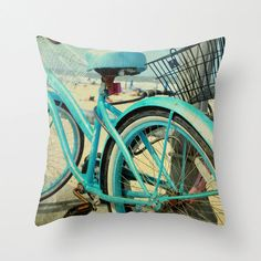 Aqua Bicycle Pillow Cover Retro Beach Bike by KalstekPhotography