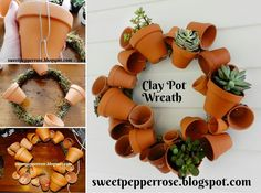 20 Terra Cotta Clay Pot DIY Project for Your Garden - terra cotta flower pot wreath #gardening, #home, #decorating