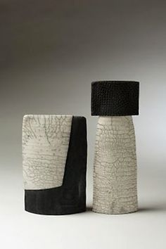 black and white - vases - Companion-Pair - Judith Roberts - ceramic More