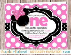 Minnie Mouse Birthday Invitation, Birthday Invite, Birthday Invitation, Minnie, Pink (#200) on Etsy, $13.00