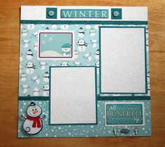 This is a perfect premade scrapbook layout for your favorite photos of sledding, having a snowball fight, or building a snowman. Snowman themed cardstock is used for the middle of this page while the top of the page has white cardstock with teal dots. The bottom of this scrapbook page has teal cardstock with a print of falling snow. Both paper sections are separated with a dark teal glitter ribbon. There are two photo mats on this layout, one sized 4 x 6 and one sized 4 x 5. There is a…