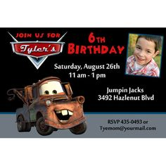 Disney Cars Mater Photo Birthday Party Invitation