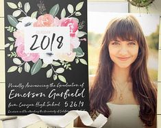 Pink and Black Graduation Party Invitation & Graduation Announcement. Graduation Invitation Customized for You! Printable or Printed Graduation Party Invitations, Graduation Party Decor, Graduation Photos, Graduation Announcements, Grad Parties, Unique Invitations, Invites, Party Signs, Floral Watercolor