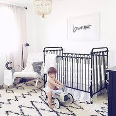 sweet nursery colors that aren't pastel. Black and white nursery. Baby Nursery Themes, Baby Boy Nurseries, Girl Nursery, Girl Room, Safari Nursery, Nursery Ideas, Nursery Decor, Room Decor, Nursery Modern