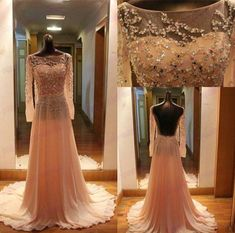 Gorgeous Open Back Long Sleeves Prom Dress Special Occasion Gown on Luulla