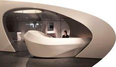 Reception Desk: ROCA LONDON GALLERY BY ZAHA HADID #futuristicfurniture