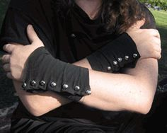 T-shirt Sleeve Upcycled to Steampunk Spat Styled Wrist Cuff, or bracers