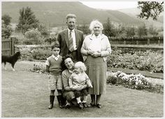 Family photo at Styx home, near Kenmore, 1960.  Myself, William MacDonald (Father), Granny MacDonald, Janet MacDonald (Mother) and Janice MacDonald (Sister).