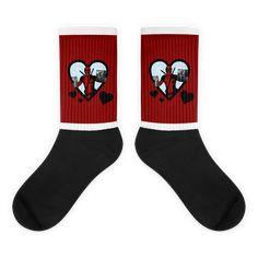 These socks are extra comfortable thanks to their cushioned bottom. The foot is black with artwork printed along the leg with crisp, bold colors that won't fade. Awesome Socks, Cool Socks, Deadpool Valentines, Bea Arthur, Us Man, Artwork Prints, Bold Colors, Legs, Cotton