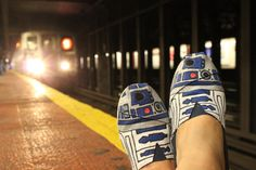 """R2DShoe"" //  #TOMSshoes TOMS Shoes #OneforOne One for One #StyleYourSole StyleYourSole #DIY #R2D2 #StarWars Star Wars"