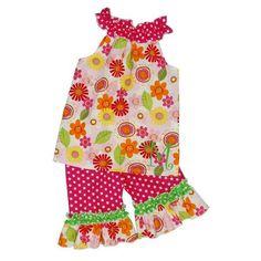 Monogrammed Flower Print Ruffled Neck Top/Hot Pink Polka Dot Short, Capri, or Pant Set