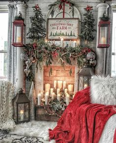 Here are the Christmas Fireplace Decor Ideas. This post about Christmas Fireplace Decor Ideas was. Christmas Decorations For The Home, Farmhouse Christmas Decor, Christmas Mantels, Cozy Christmas, Outdoor Christmas, Xmas Decorations, Vintage Christmas, Christmas Staircase, Christmas Fireplace Decorations