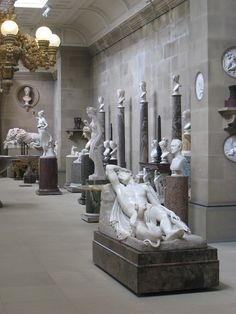 Canova's 'Endymion' in the Sculpture Gallery at Chatsworth, Bakewell, Derbyshire (1834)