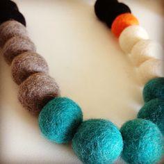 Handmade felt necklace with adjustable length