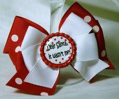 Dear Santa' Hair Bow - Red Polka Dot and White Boutique Hair Bow with 'Dear Santa' Print Bottle Cap Center Christmas