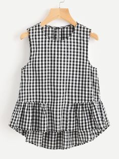 Romwe Buttoned Keyhole Tiered Hem Gingham Shell TopL