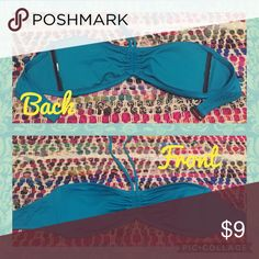 """Turquoise bikini top Turquoise bikini top. Large (fits me and I'm a 34d) comfortable straps, the black """"wires"""" sewn inside offer the girls even more stand up support . Super stylish neck/ chest cut! 🌊🌺💜😎 Swim Bikinis"""