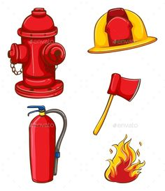 Buy Fireman Equipment by BlueRingMedia on GraphicRiver. Illustration of a set of equipment for fireman