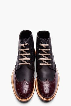 DSQUARED2 Black & Burgundy Leather Othello Brogue Boots