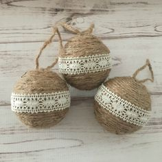 Twine Ornaments, Lace Ornaments, Rustic Christmas Decor, Christmas Ornaments, Christmas Gift, Housewarming Gift, Gift For Women, Handmade by StargazerHomeDecor on Etsy