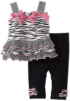 Vitamins Baby-girls Infant Zebra 2 Piece Legging Set