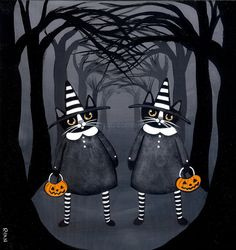 The Twins Halloween Witch Cat Original Folk Art by KilkennycatArt