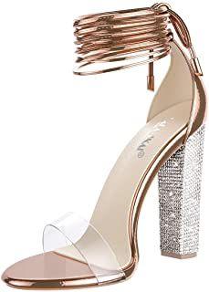 Onlymaker Womens Flat Rhinestone Toe Ring Strappy Soft Flat Sandals