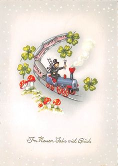 BG20756 train clover mushroom chimney sweep new year neujahr germany in Collectables, Postcards, Holiday/ Butlins | eBay