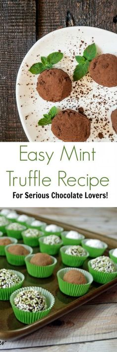 Want to try making homemade truffles? This easy mint truffle recipe takes very little time to make and is decadent enough for serious chocolate lovers! via Diane Hoffmaster Healthy Dessert Recipes, Easy Desserts, Baking Recipes, Cookie Recipes, Delicious Desserts, Healthy Food, Homemade Truffles, Truffle Recipe, Chocolate Lovers