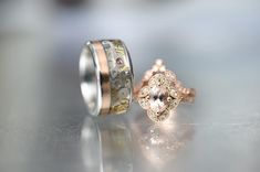 Rose gold titanium steampunk men's wedding ring. We are proud to be the creators of this beautiful piece.