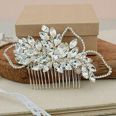Mary Crystal Diamante Leaf Bridal Hair Comb