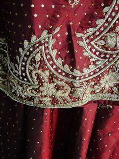 Mughal style dabka embroidery on a pure silk jacket-style lengha choli (vintage)
