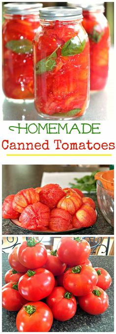 Canned Tomatoes - savory tomatoes preserved easily at home for future use in your favorite salsas and sauces! (w/ step by step pics! Preserving Tomatoes, Canning Tomatoes, Preserving Food, Tomato Canning Recipes, Best Canned Tomatoes, Garden Tomato Recipes, Pickled Tomatoes, Canning Tips, Home Canning