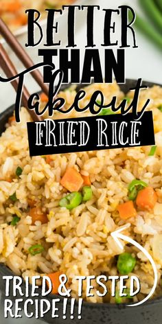 This quick and easy fried rice recipe is better than take out. It's restaurant style, but created at home with easy ingredients you'll have on hand. If you're craving real, authentic, homemade stir fry rice lately, this simple stir fried rice recip Rice Recipes For Dinner, Easy Rice Recipes, Side Dish Recipes, Asian Recipes, Simple Chinese Recipes, Crockpot Rice Recipes, Stir Fried Rice Recipe, Fried Rice Recipe Chinese, Better Than Takeout Fried Rice Recipe