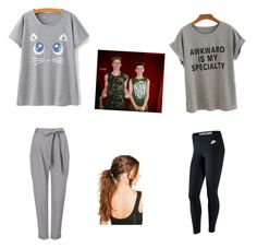 """Netflix Date with Hunter Rowland and Blake Gray"" by haileyraffele on Polyvore featuring NIKE, Phase Eight and Boohoo"