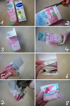Empty drink cartons made into wallets Craft Projects For Kids, Crafts For Kids, Arts And Crafts, Paper Crafts, Diy Projects, Diy Home Crafts, Easy Crafts, Recycle Newspaper, Duck Tape Crafts