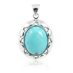 Sterling Silver Pendant with Oval Turquoise Stone (BTS-NP9893/STQ/R) (105 AUD) ❤ liked on Polyvore featuring jewelry, pendants, charm pendant, turquoise stone jewelry, sterling silver jewelry, oval pendant and turquoise stone pendant