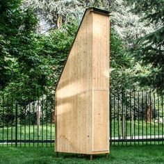 This wooden beehive by Italian designer Francesco Faccin has a 4.5-metre chimney to keep its inhabitants away from…