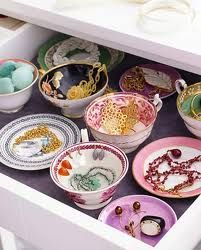 Love it- storing jewellery in pretty tea sets