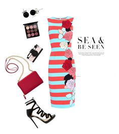 """Stripped Red Turquoise Dress"" by halim-yuliana ❤ liked on Polyvore featuring Jimmy Choo, TravelSmith, Bling Jewelry, Kate Spade, MAC Cosmetics and Antonio Marras"