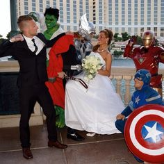 www.lasvegasweddingwagon.com Las Vegas Wedding Wagon Photo of the Day; Only in Vegas can your wedding guests be The Hulk, Thor, Captain America and Iron man! Thor seemed rather taken by our Beautiful Bride, however our Handsome Groom wasn't even going to let Super Hero's come between them!