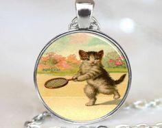 Tennis Kitten Pendant, Tennis Kitten Necklace, Cat Jewelry, Cat Necklace, Kitten pendant, Kitten Jewelry, Kitten Necklace, (PD0485)
