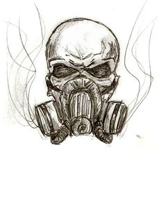 Skull Wings Gas Mask Logo