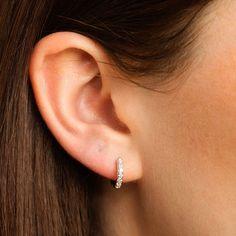 de25cd3e7 Huggie Hoop Earrings With Clear Stones Ear Piercings, Contemporary  Jewellery, Hoop Earrings, Diamond