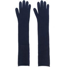 Joseph long gloves ($195) ❤ liked on Polyvore featuring accessories, gloves, blue, elbow length gloves, long cashmere gloves, cashmere gloves, long blue gloves and blue gloves