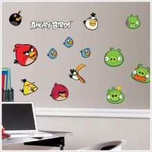 """Now you can take revenge on those egg-stealing pigs in a whole new way! Bring your favorite mobile game to your walls with this officially licensed set of Angry Birds wall decals. Fans of the battle between birds and pigs will have an absolute blast decorating their room, furniture, or mobile devices with these removable & repositionable stickers. Bombs away! Number of Wall Decals: 34 Wall Decal Dimensions: 4 sheets of 10"""" x 18""""  decals range from 2""""x 2"""" to 7.5"""" x 7.25"""""""