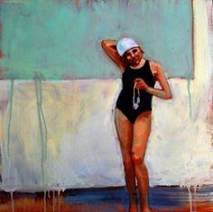Stretch - Debbie Miller, oil painting, blue, bathing suit, swimmer, painting by artist Debbie Miller